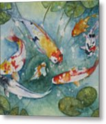 Koi  With Lilies Metal Print