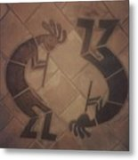 kokopelli Hand cut Tiles Metal Print