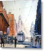 Kolkata City With Tram Metal Print