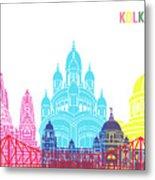 Kolkata Skyline Pop Metal Print