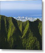 Koolau Mountains And Honolulu Metal Print