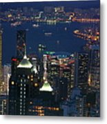 Kowloon Skyline And Victoria Harbour At Dusk Metal Print