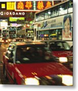 Kowloon Street Scene At Night With Neon Metal Print by Justin Guariglia