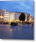 Krakow Main Square By Night Metal Print
