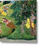 Krishna Fluting The The Milkmaids Metal Print