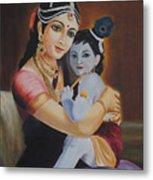 Krishna With Mother Yasoda Metal Print