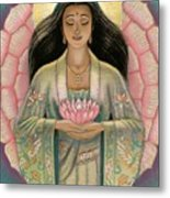 Kuan Yin Pink Lotus Heart Metal Print by Sue Halstenberg