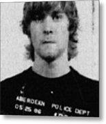 Kurt Cobain Mug Shot Painting Vertical Black And Gray Grey Metal Print