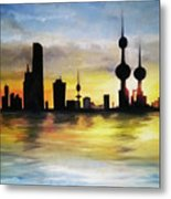 Kuwait City Sunset From The Bay Metal Print