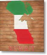Kuwait Rustic Map On Wood Metal Print
