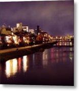 Kyoto Nighttime City Scenery Of Kamo River With Street Lights Re Metal Print
