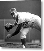 L.a. Dodgers Pitcher Sandy Koufax, 1965 Metal Print