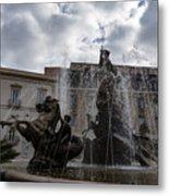 La Fontana Di Diana - Fountain Of Diana Silver Jets And Sky Drama Metal Print