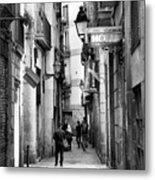 La Rambia Bw Street Gothic Quarter Narrow People  Metal Print