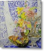 Lace And Flowers Metal Print