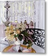Lacey Curtain And Pastry Metal Print