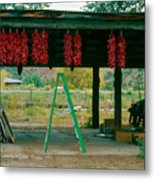 Ladder And Ristras Sopyn's Fruit Stand Rinconada Nm Metal Print
