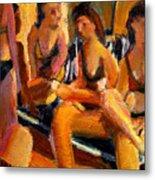 Ladies At The Pool Metal Print