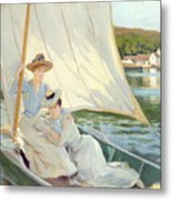 Ladies In A Sailing Boat  Metal Print by Jules Cayron