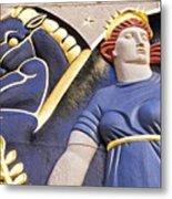 Lady And Her Pegasus Stallion Metal Print