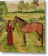 Lady And Horse Metal Print