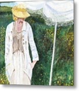 Lady And The Umbrella Metal Print