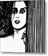 Lady At The Door Metal Print