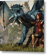 Lady Blue Dragon Metal Print