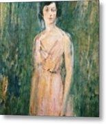 Lady In A Pink Dress Metal Print by Ambrose McEvoy