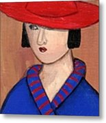 Lady In A Red Hat And Blue Coat Metal Print