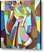 Lady In Mosaic Metal Print