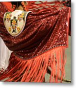 Pow Wow Lady In Red Metal Print