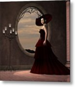 Lady In Red Dress Metal Print