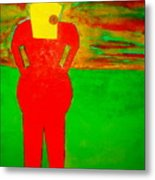 Lady In Red Looking At Sunset Metal Print