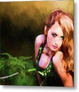 Lady In The Ferns Metal Print