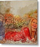 Lady In The Leaves 1 Metal Print