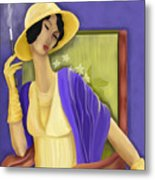 Lady In The Yellow Hat Metal Print by Sydne Archambault