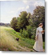 Lady In White Reading  Metal Print