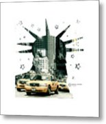 Lady Liberty And The Yellow Cabs Metal Print