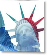 Lady Liberty With French Flag Metal Print