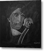Lady Look At Cello Scroll Metal Print
