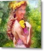 Lady Of The Dandelions Metal Print