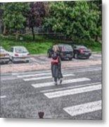 Lady On A Crossing Metal Print