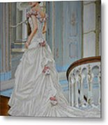 Lady On The Staircase Metal Print