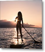 Lady Paddling Metal Print