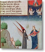Lady Philosophy Leads Boethius In Flight Into The Sky On The Wings That She Has Given Him Metal Print