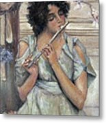 Lady Playing Flute Metal Print