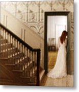 Lady Standing In A Doorway Metal Print