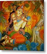 Lady With A Lotus Metal Print