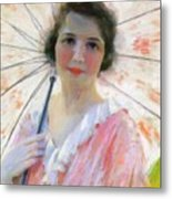 Lady With A Parasol 1921 Metal Print